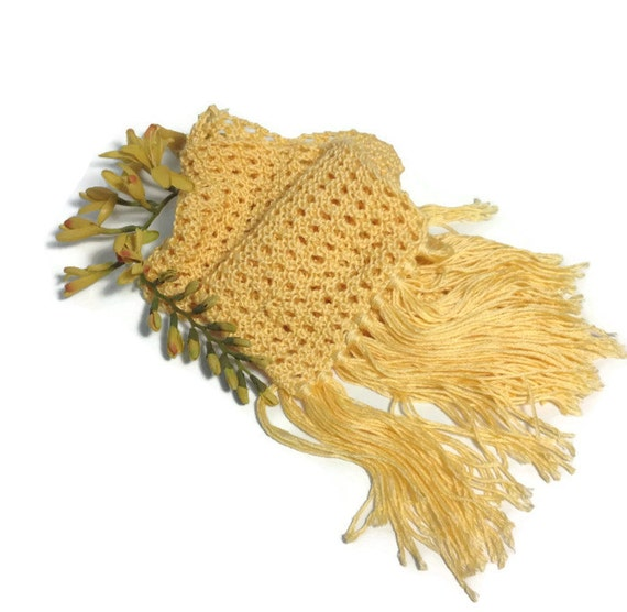 A Bit of Sunshine Scarf, Yellow Scarf, Knit Scarf, Hand Knit Scarf, Lacy Scarf, Mothers Day, Spring, Fiber Art