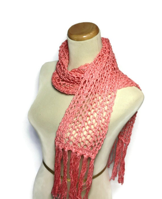 Sale Coral Beauty Scarf, Knit Scarf, Hand Knit Scarf, Lacy Scarf, Mothers Day, Spring Scarf, Mother's Day, Gift For Her, Fashion Scarf