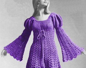 Instant Download - Crochet Pattern - Vintage Crochet Pattern for Ladies Juliet Style Dress - sizes 8 to 18 included