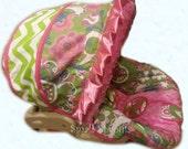 Fiona Floral Ikat/Lime Chevron/Hot Pink Minky Dot Infant Car Seat Cover 5 piece set