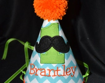 Moustache 1st Birthday Party Hat with number Boys Birthday Hat