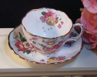 Vintage Royal Albert Bone China Lady Angelina Floral Cup and Saucer, Made in England, Pink Floral Pattern, 1960s Cup Saucer Collectible