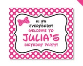 Minnie Mouse Party - Personalized DIY printable sign - Choose red or pink