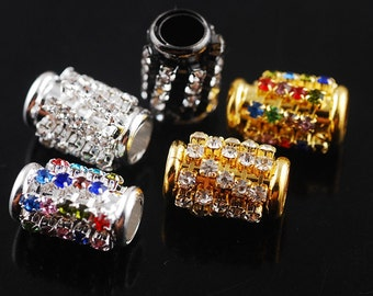 5pcs 46X8mm Metal Alloy Crystal Rhinestone Tube Bracelet Connector Charms Jewelry Making --- 5 Colors DZ051