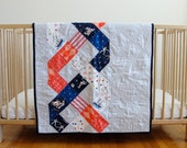 SALE 35% OFF Red, White, and Blue Triple Helix baby quilt
