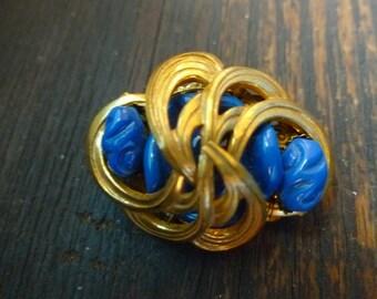 50% OFF SALE Vintage Golden Gilt Brooch with Deep Blue Beads