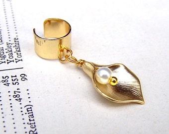 Gold Ear Cuff Body Jewelry Earcuff Ear Wrap Calla Lily Wedding Ear Cuffs
