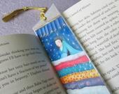 Princess and the Pea Bookmark, Fairy Tale Bookmark, Handpainted Bookmark