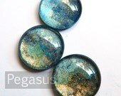 Nile Blue and Gold round Glass opal Cabochon (3 Piece,6 size options) Fantasy jewel gem for wedding,cosplay,elven costume,steampunk jewelry