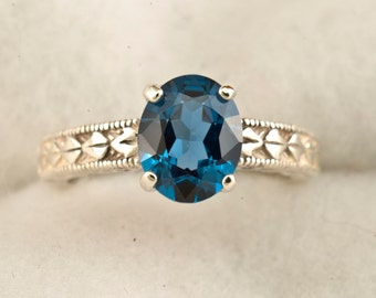 10 x 8 Oval  Intense Blue Spinel Engraved Antique Style Ring, Engraved Ring, Birthstone Ring, Gemstone Ring