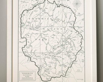 Yosemite National Park, Letterpress Map Art Print