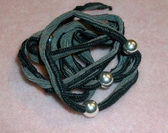 Gray with Black trim Silk Wrap Sterling Silver Beads and Toggle Bracelet Sale was 29