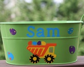 Personalized toy or Easter pail for boys or girls - Dump truck, construction vehicles, bunny, and Easter eggs