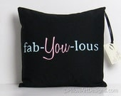 Pillow Cover with Words Fab You Lous Black Pink Mint Green Hand Painted Made in Canada