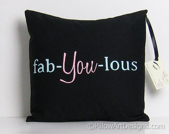 Pillow Cover with Words Fab You Lous Black Pink Mint Green 16 X 16 Hand Painted Ready to Ship Made in Canada