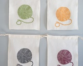 The Knitter's Collection - Knitting Bags,  Set of Four Organic Linen Drawstring Bags - Cloth Gift Bags