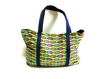 Summer tote bag, large beach bag for cruise, spa, pool, gym, vacation, crafts, lime green blue, cotton colorful