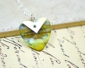 Sage Green Dangle Necklace, Hemlock Green Heart Crystal Necklace, Sage Dangle, Mystic Green, Simple Drop Necklace, Silver and Green Heart