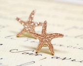 Bronze Starfish Earrings, Nautical Beach Jewelry, Rose Gold Metallic Star Fish Studs, Sparkly Glitter Gifts for Beach Lovers