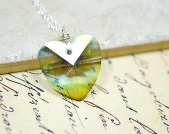 Sage Green Heart Necklace, Hemlock Green Heart Crystal Pendant, Mystic Finish Simple Drop, Silver and Green