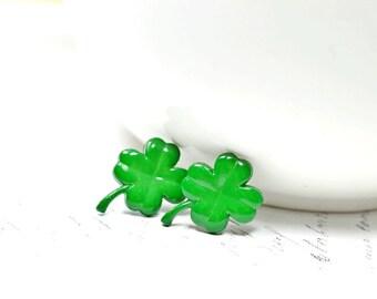 Dark Green Four Leaf Clover Earrings, St Patrick's Day, Lucky Earrings Hypoallergenic Green Clover Jewelry, Shamrocks