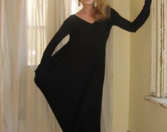 Asymmetric Maxi Dress Long Grecian Draped Fall Dress Extra Long Sleeves V Neck Loose Boho Dress Pocket Reversible (More Colours) XS - XL
