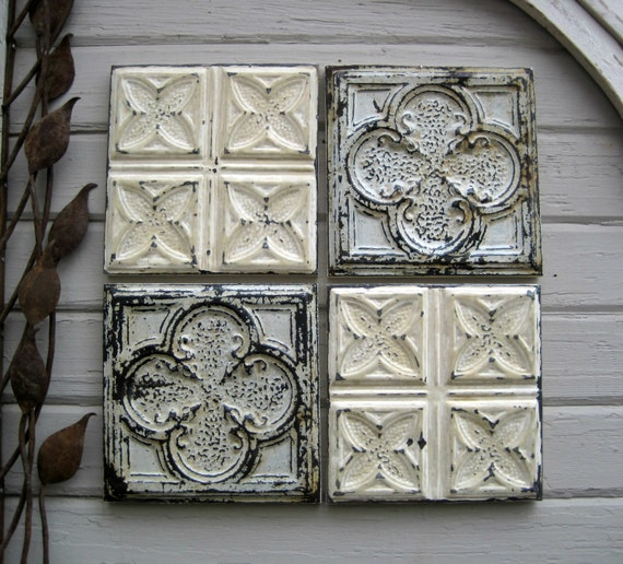 Tin ceiling tile set of four antique tins circa by for Individual ceiling tiles for sale