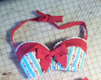 Pin Up Sweetheart Front Red Polka Dot Tiffany Blue Floral Retro Bandeau Bow Top