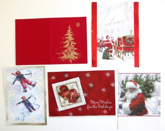 5 Sparkly Christmas Card Fronts for Reuse, Scrapbooking