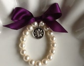NEW Little Girl  Pearl Bracelet with Silver flower charm  Flower Girl Bracelet, Flower Girl Jewelry and Gift