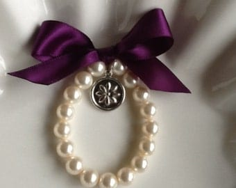 Girl  Pearl Bracelet with  flower charm  Flower Girl Bracelet, Flower Girl Jewelry and Gift