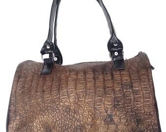 US handmade Handbag Doctor bag Satchel Crocodile Animal Print Pattern Bag Purse, BROWN Color, NEW