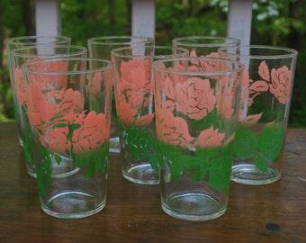 Vintage Pink and Green Floral Glasses Set