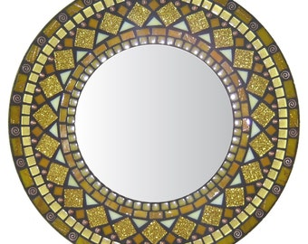 Yellow Accent Mirror - Glass Mosaic & Copper Beads