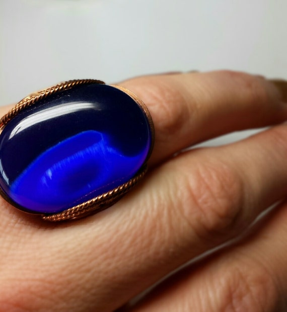 Cobalt And Cat S Eye Ring