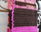 Hand Crocheted Afghan Baby Blanket Couch Throw Pink Hot Pink Chocolate Brown 32 x42 - by Distinctly Daisy