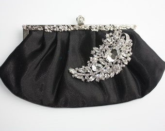 Bridal black Clutch - silver-ivory satin with a BIG Swarovski Crystal feather brooch