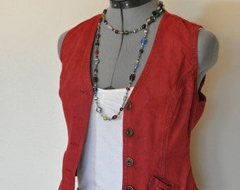 """Red Jrs. Small Denim VEST - Urban Dark Red Hand Dyed Upcycled Urban Style DiJon Denim Vest - Adult Womens Juniors Extra Small (32"""" chest)"""