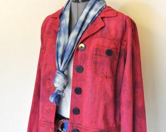 "Red Medium Denim JACKET - Crimson Red Hand Dyed Upcycled Bill Blass Denim Trucker Style Jacket - Adult Womens Medium (42"" chest)"