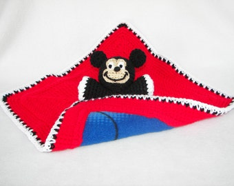Security Blanket, Incredibly Soft Red Mickey Mouse Fleece Crochet Baby Lovey, Stuffed Animal