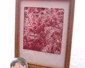 Berry Red Lithograph, Ice Encrusted Berries, Original Print, Limited Edition, Abstract Textural Image, 8 1/2 x 11