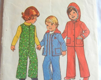 Toddler Hooded Jacket and Overalls Pattern, Size 1, Simplicity 7774, 1976