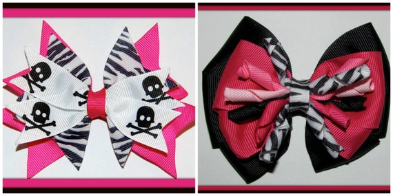 7 DoLLARS-Fun Zebra 4-INCH Hair Bow-2 Styles...CHOOSE ONE...Would Make a Great Photography Prop...Ready-to-Ship