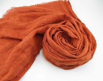 Handmade Linen Scarf --- Burnt Orange