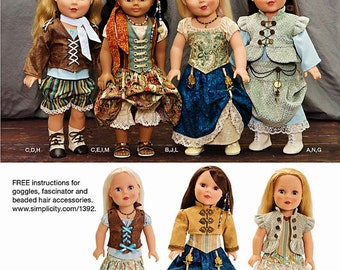 """18 inch Doll Steampunk Costumes Pattern, 18 in Doll Clothes, 18"""" Doll Clothes, Simplicity Sewing Pattern 1392"""