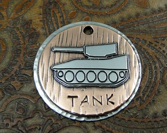 Custom Dog ID Tag Tank,Pet ID Tag,Dog Collar ID Tag,Personalized Pet Tag,Handmade Tank Dog Tag