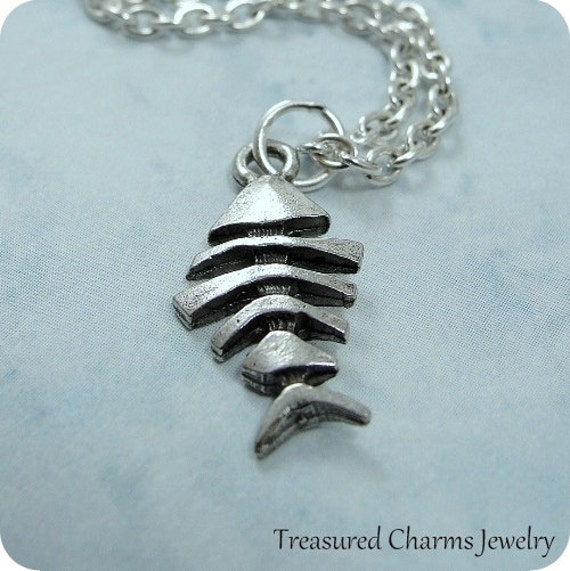 Fish skeleton necklace silver plated fish bone skeleton charm for Fish skeleton necklace