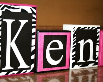 Kenadi Collection - Hot Pink, White and Black -  Zebra Print and Solid Pink- baby, gift, girl, - Name Letters - Wall letters- Baby blocks