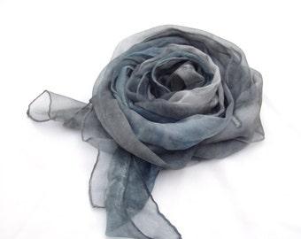 Hand painted scarf, silk scarf, silk shawl, Kyanite, Blue grey, Fashion, luxury, gift for women, headband