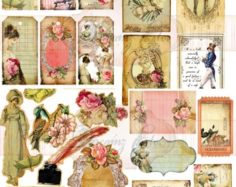 "Digital Paper ""Simply Jane"" Ephemera Pack 1- Great for Scrapbooking, Journals - Jane Austen Theme"